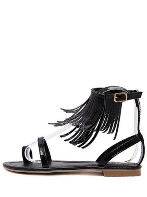 chic Solid Color Fringe Flat Heel Sandals - BLACK 38 Mobile