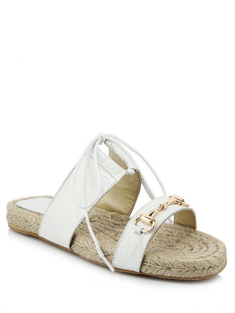chic Weaving Metal Lace-Up Sandals - WHITE 37 Mobile