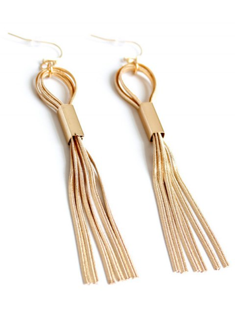 latest Hollow Out Alloy Tassel Long Earrings - GOLDEN  Mobile