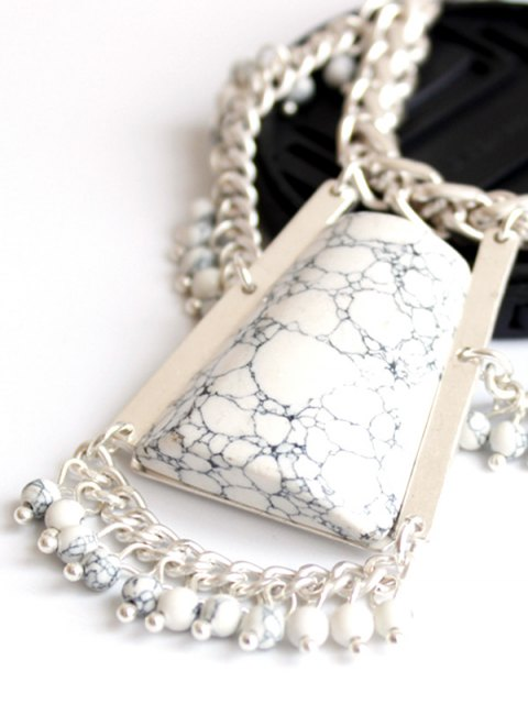 ladies Stone Hollow Out Out Pendant Necklace - SILVER  Mobile