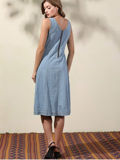 outfits Double-V Lace Up Denim Dress - LIGHT BLUE L Mobile