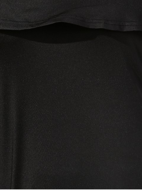 online Black Off The Shoulder Boat Neck Long Sleeve Dress - BLACK L Mobile