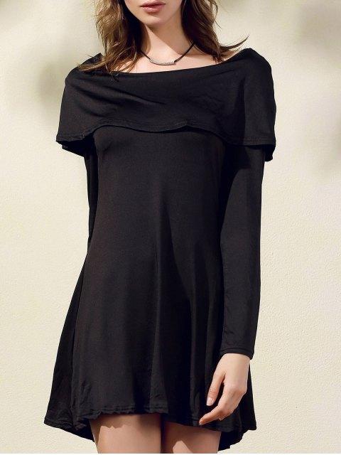 new Black Off The Shoulder Boat Neck Long Sleeve Dress - BLACK M Mobile