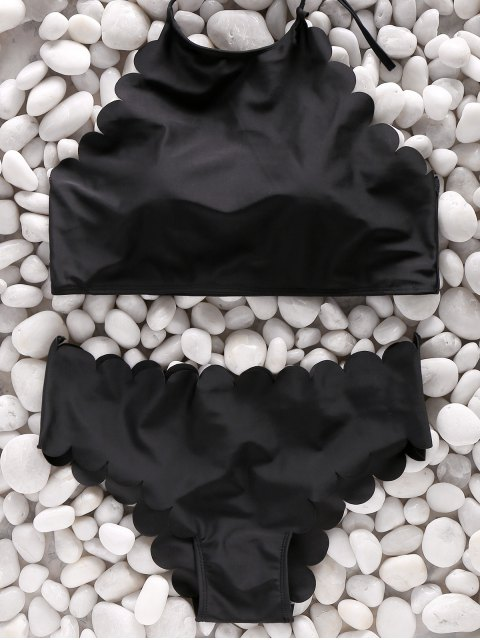 womens Two Piece High Neck Scalloped Swimsuit - BLACK M Mobile