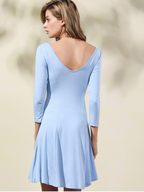 latest Double-V 3/4 Sleeve Flared Dress - ICE BLUE S Mobile