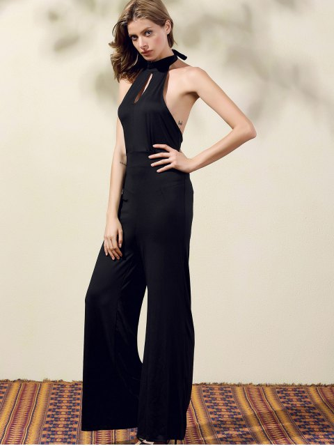 new Black Halter Wide Leg Jumpsuit - BLACK XL Mobile