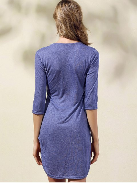 Solide Couleur Side Slit Scoop Neck 3/4 robe à manches - Bleu S Mobile