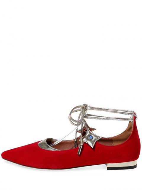 womens Pointed Toe Flock Lace-Up Flat Shoes - RED 39 Mobile