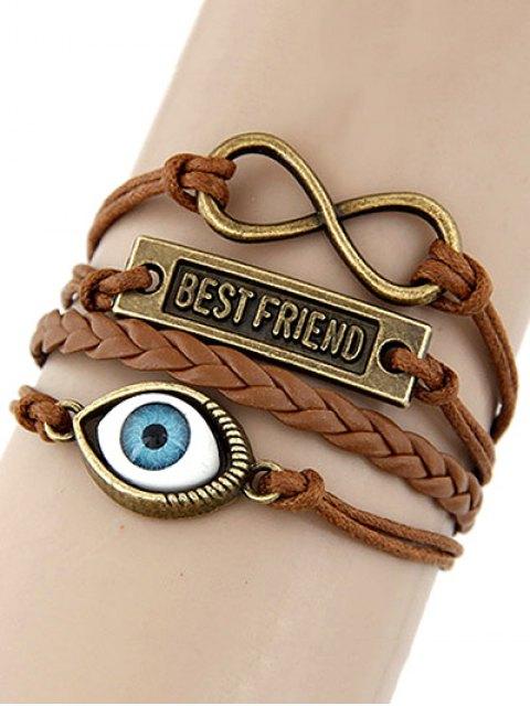 online Infinite Nameplate Eye Layered Bracelet - BROWN  Mobile