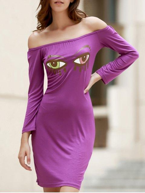 womens Off-The-Shoulder Eye Print Bodycon Dress - PURPLE L Mobile