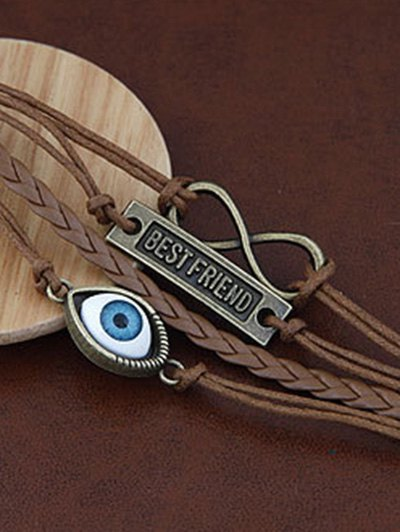 Infinite Nameplate Eye Layered Bracelet - BROWN  Mobile