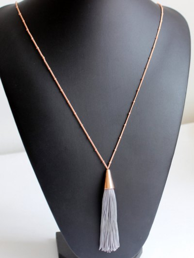 Simple Tassel Pendant Sweater Chain - GRAY  Mobile