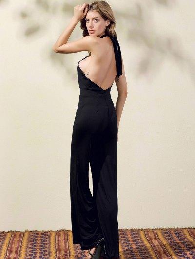 Black Halter Wide Leg Jumpsuit - BLACK S Mobile