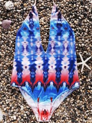 Print Open Back Halter One-Piece Swimwear - Colormix S