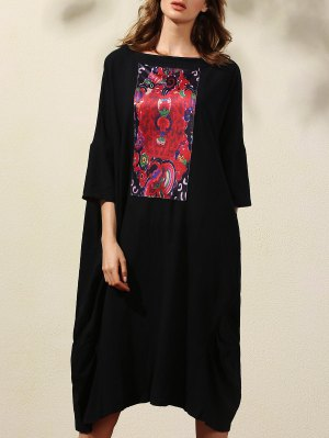 Retro Print 3/4 Sleeve Round Neck Straight Dress - Black