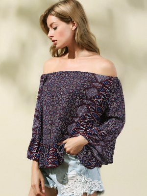 Print Off The Shoulder Flare Sleeve Blouse