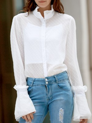 Frilled Neckline See-Through Dotted Shirt - White