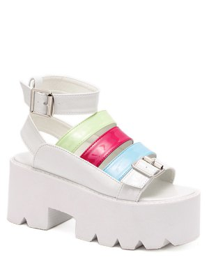 Buckle Color Block Platform Sandals - White