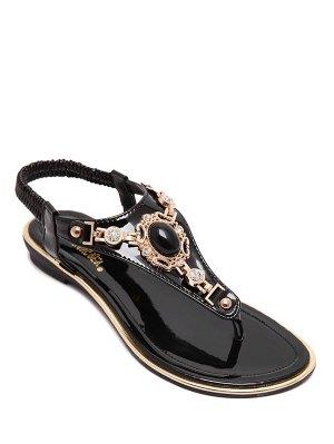 Faux Gem Flat Heel Elastic Sandals - Black