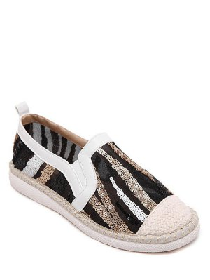 Chaussures Color Block Tissage Paillettes Flat - Blanc