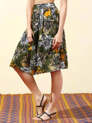 Full Floral High Waist Skirt - Blackish Green