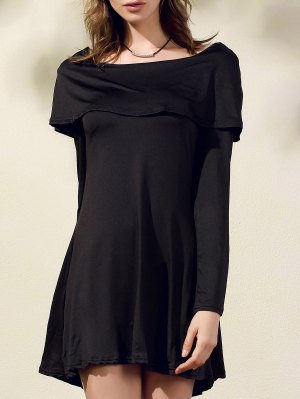 Black Off The Shoulder Boat Neck Long Sleeve Dress - Black