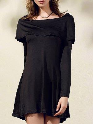 Black Off The Shoulder Boat Neck Long Sleeve Dress - Black