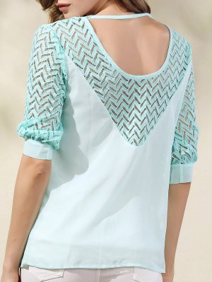Lace Splicing Round Neck Half Sleeve Chiffon Blouse - Light Green