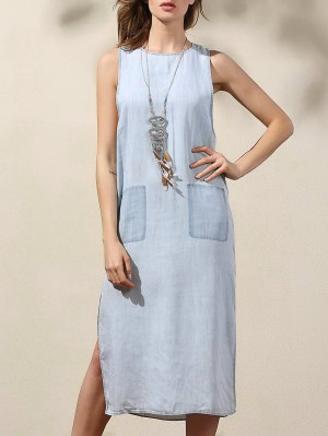 Drop Armhole Denim Dress - Blue