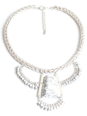 Stone Hollow Out Out Pendant Necklace - Silver