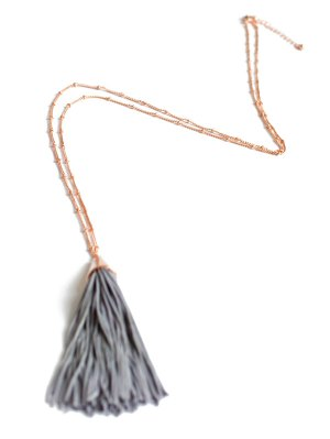 Simple Tassel Pendant Sweater Chain - Gray