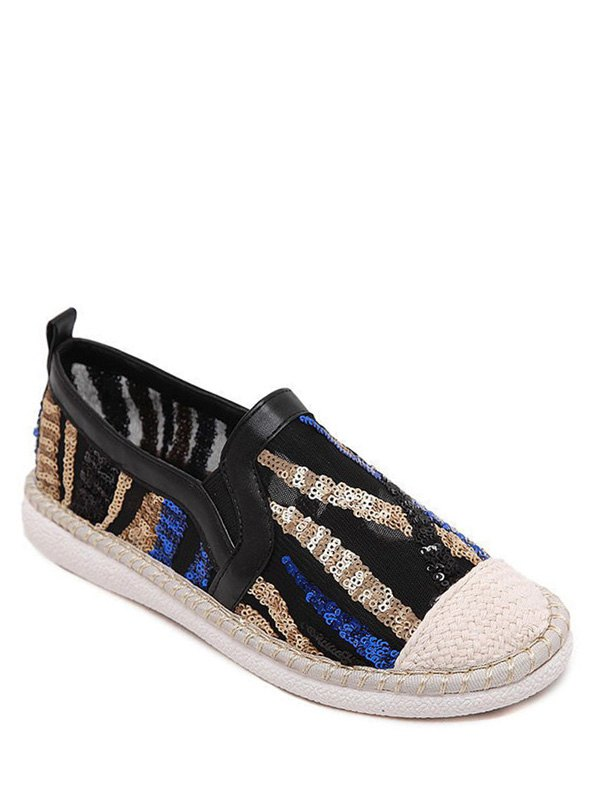 Color Block Weaving Sequins Flat Shoes