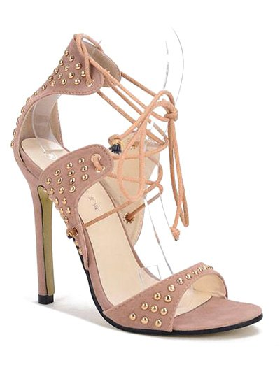 Buy Stiletto Heel Rivet Lace-Up Sandals APRICOT 38