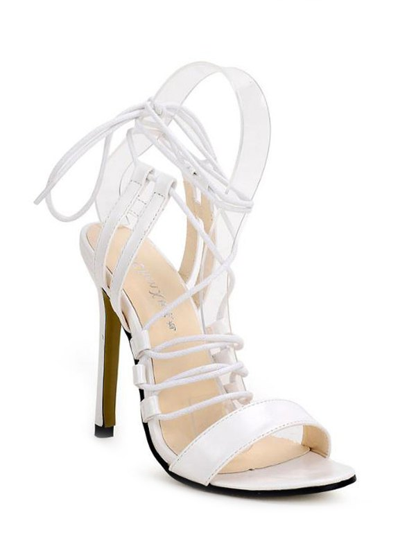 White Lace-Up Stiletto Heel Sandals