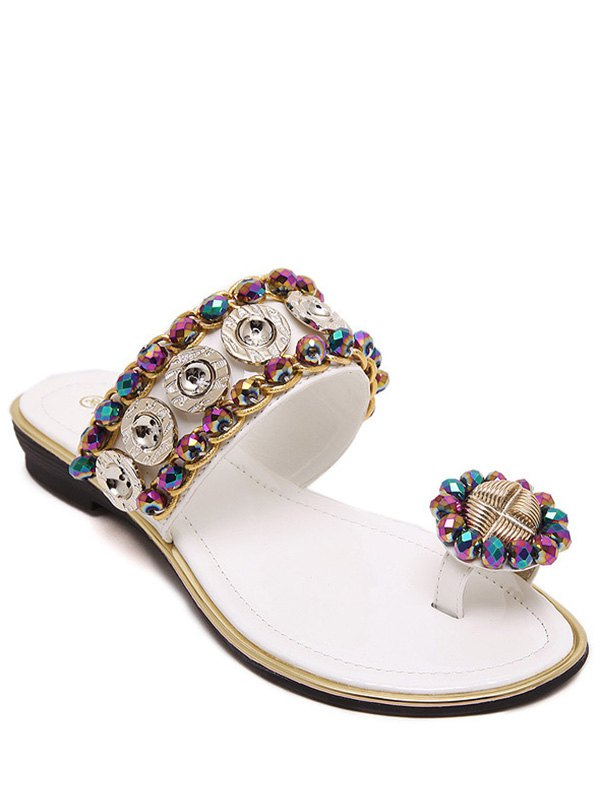 Toe Ring Metal Rhinestone Slippers
