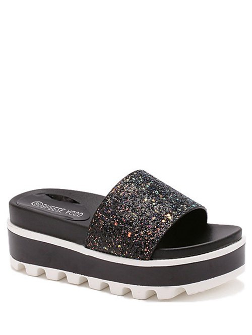 Color Matching Platform Sequined Slippers