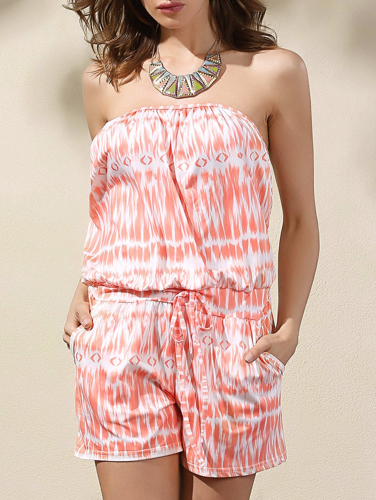 Strapless Sleeveless Printed Belted Romper