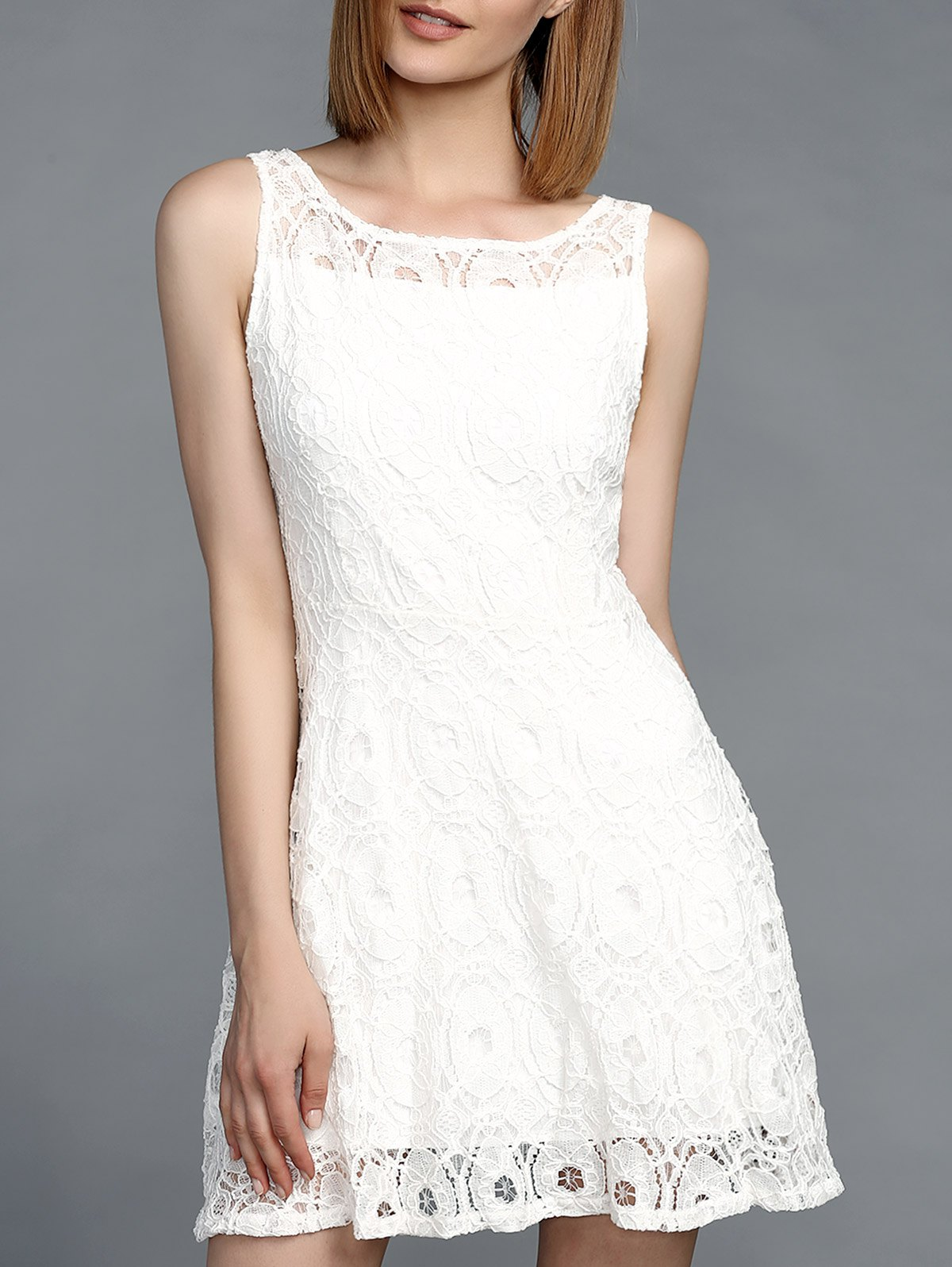 Jewel Neck Sleeveless Lace Dress For Women