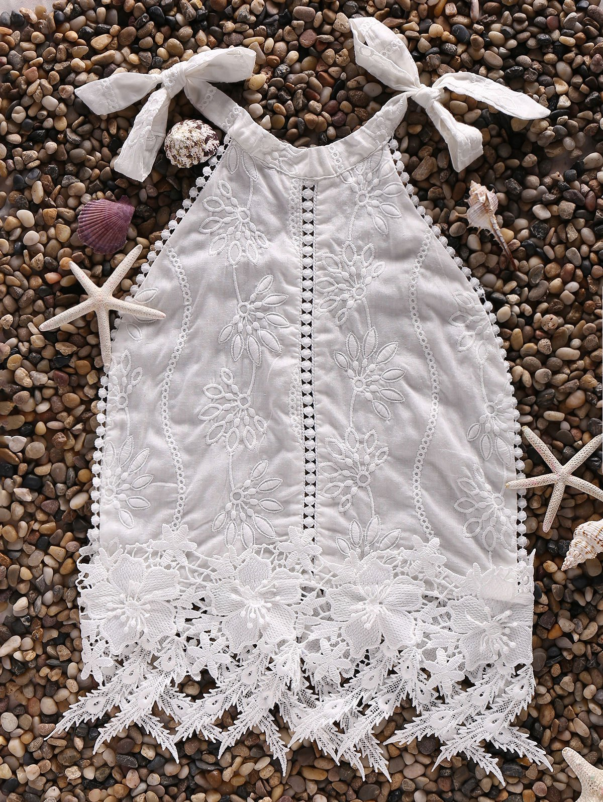 White Lace Spliced Halter Tank Top