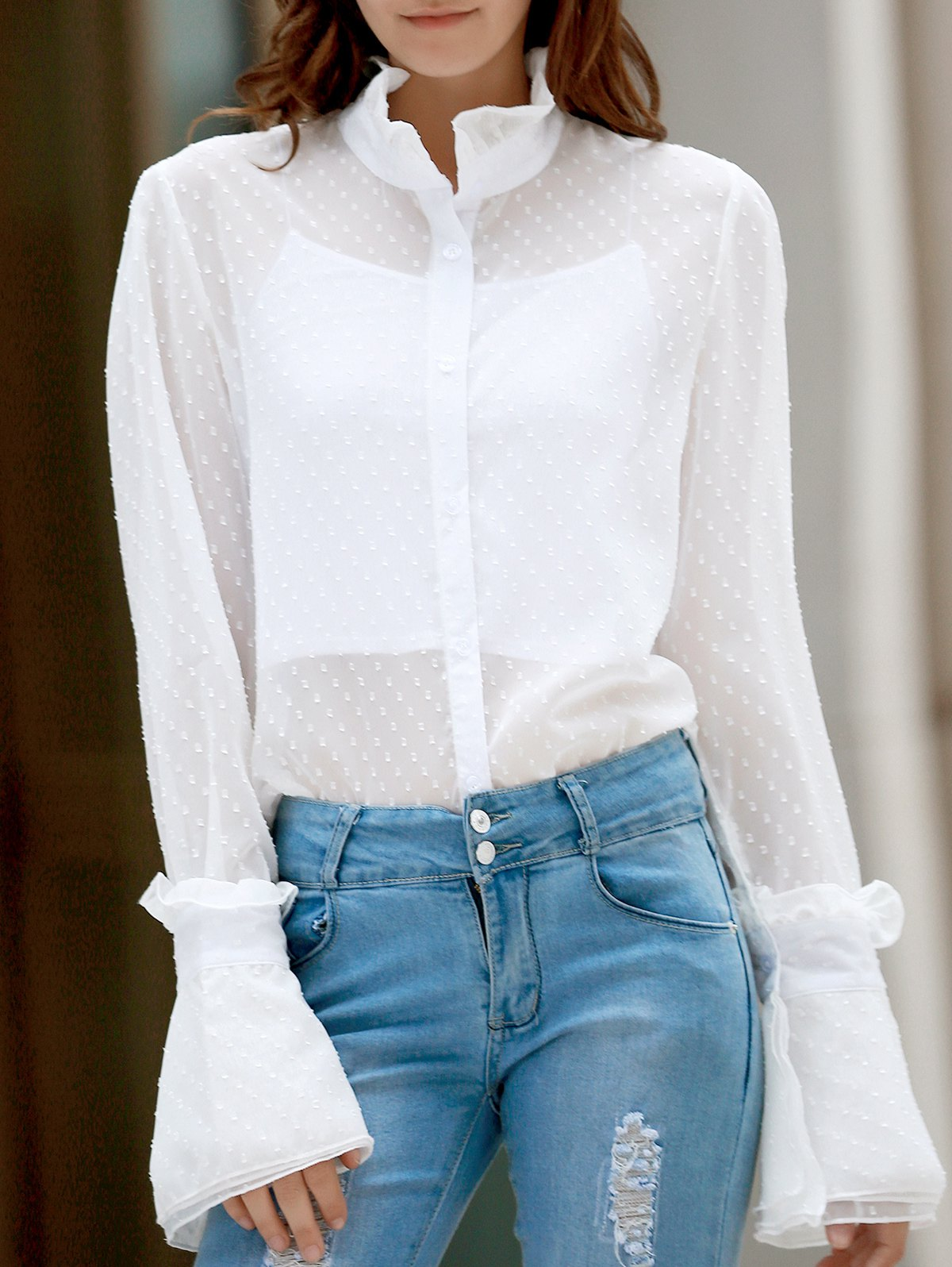 Frilled Neckline Bell Sleeve See-Through Dotted Shirt