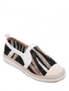 Color Block Weaving Sequins Flat Shoes - White