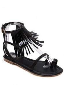 Solid Color Fringe Flat Heel Sandals