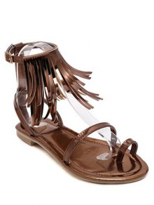Solid Color Fringe Flat Heel Sandals - Deep Brown 38