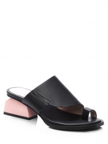 Toe Loop Strange Heel Black Slippers