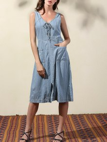 Double-V Lace Up Denim Dress