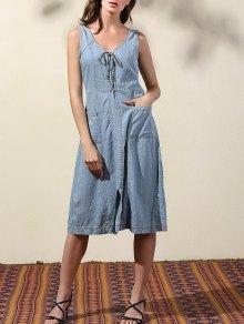 Doble-V Para Arriba El Vestido Del Dril De Algodón Del Cordón - Azul Claro S