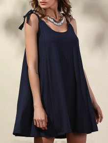 Pure Color Straps Self Tie Dress
