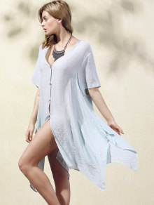 Irregular Hem V Neck Short Sleeve Coat