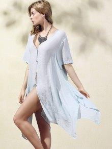 Buy Irregular Hem V Neck Short Sleeve Coat - LIGHT BLUE XL
