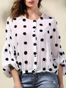 Flocking Polka Dot Spliced Round Neck Long Sleeve Blouse - White L